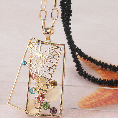 "Womens 14k Gold Filled 30"" Dress Chain Pendant Opal Rectangle Necklace JD1792"