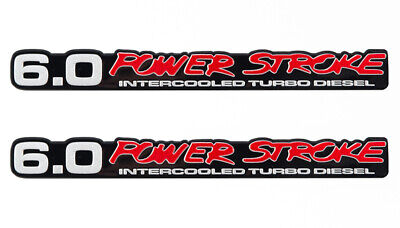 Ford Super Duty 6.0 Power Stroke Intercooled Turbo Diesel Aluminum Emblems Pair