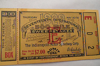 INDY 500 <<< 1929  >>> Original < $7 BOX SEAT!!! > TICKET STUB - Indianapolis