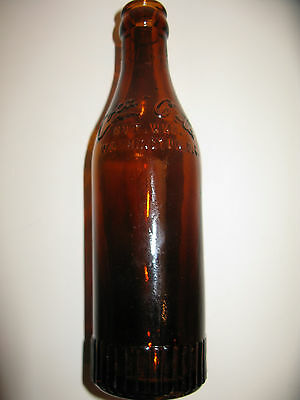 RARE AMBER SS STRAIGHT SIDE COCA COLA BOTTLE WASHINGTON, D.C. FLUTED BASE