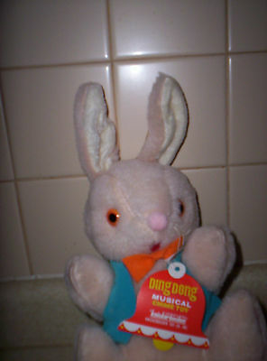 VINTAGE STUFFED RABBIT KNICKERBOCKER DING DONG MUSICAL CHIME TOY