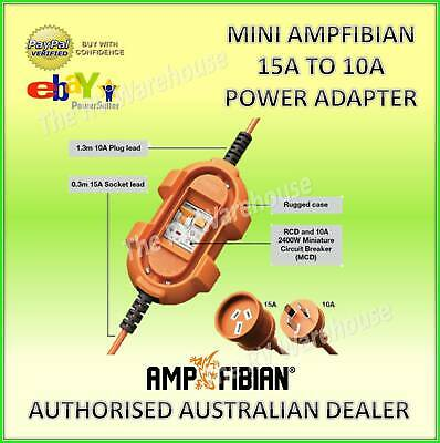 240V Mini Ampfibian New 15A to 10A Power Adapter Caravan RV Motorhome Part