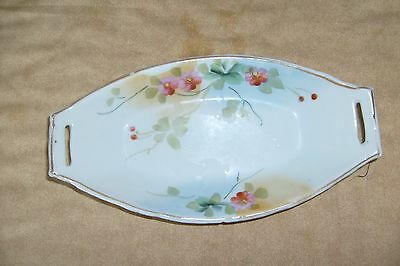 Green floral design on hand painted Nippon (?) celery plate/ mini-casserole