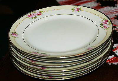 6 antique salad, butter plates. Nippon{Japan} with rising sun