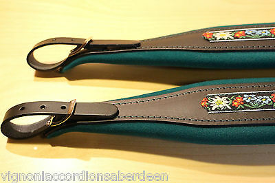 Deluxe Italian accordion strap green & black folk leather 346a 8cm w +Backstrap