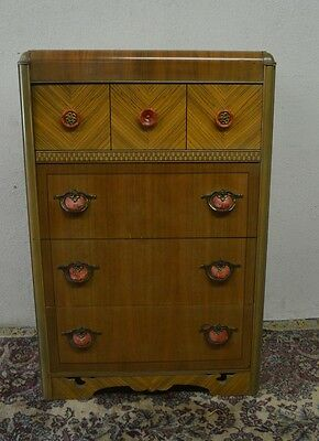 ART DECO WATERFALL CHEST OF DRAWERS part of 4pc bedroom set