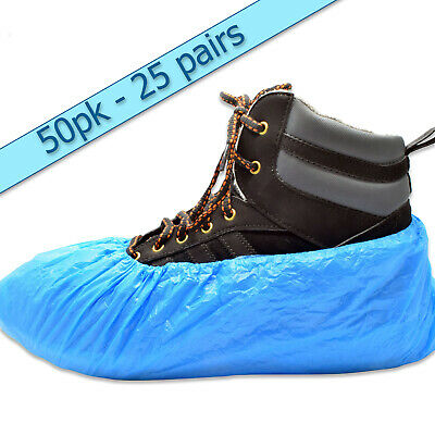 50 x premium disposable shoe covers overshoes 3.5g CPE blue embossed (25 pairs)
