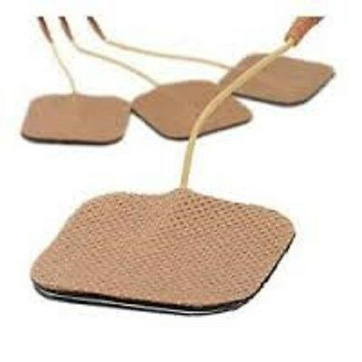 4 Replacement Pads for Massagers / Tens Units electrode pads 2x2Inch Tan Cloth