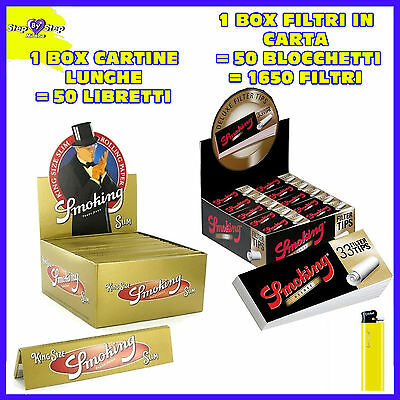 CARTINE SMOKING LUNGHE GOLD ORO king size + Filtri di CARTA SMOKING DELUXE