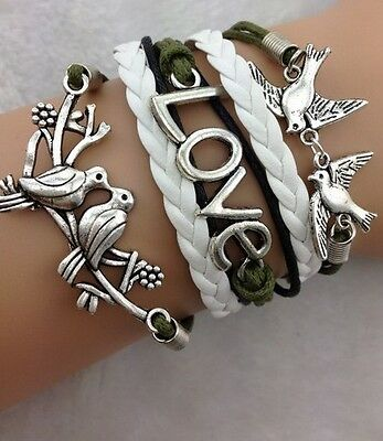 NEW Hot Retro Infinity LOVE Dove Peace Leather Charm Bracelet plated Silver W22