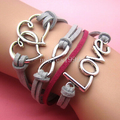 New DIY Hot Infinity LOVE heart Leather Cute Charm Bracelet plated Silver AD