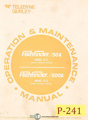 Pathfinder Teledyne 50A & 500A, Digital Readout, Operations Maintenance Manual