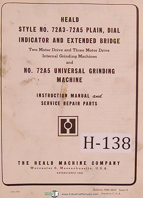 Heald 72A3-72A5, Issue 2 Grinding Operator Parts Maintenance Manual Year (1966)