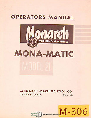 "Monarch 20H Operations, 10"" Series EE Schematics, lathe, Manual 1973"