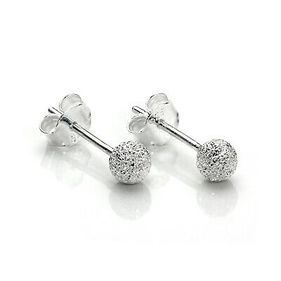 925 Sterling Silver 4mm Frosted Xmas Ball Stud Earrings / Studs