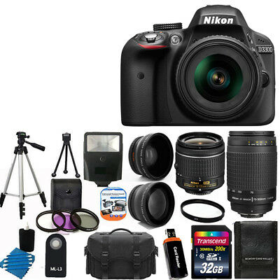 NEW Nikon D3300 Digital SLR Camera +4 Lens 18-55mm VR +70-300 +32GB Complete Kit
