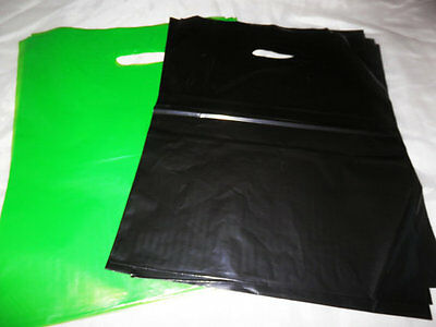 100 12x15 Glossy Lime Green and Black Low-Density Merchandise Bags WHandles