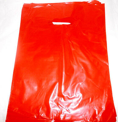 100 12x15 inch Glossy Red Low-Density Plastic Retail Merchandise Bags w/Handles