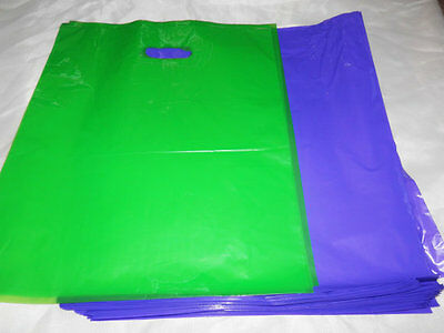 100 12x15 Glossy Purple and Lime Green Low-Density Merchandise Bags W\Handles