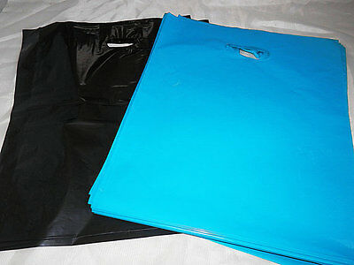 100 12x15 Glossy Teal Blue and Black Low-Density Merchandise Bags WHandles