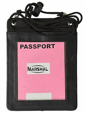 Genuine Leather Transparent Window Passport Cover, Mens Neck Travel Card Wallet
