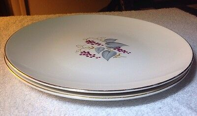 Edwin Knowles X4041 Vtg. Pattern Grapes Leaves Gold 2  Dinner Plates Replacement