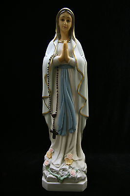 """19"""" Our Lady of Lourdes Blessed Mary Catholic Statue Figure Rosary Made Italy"""