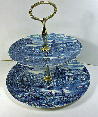 """THE POST HOUSE 2 Tier Tray Woods & Sons 10"""" x 10"""" Pottery English Ironstone Blue"""