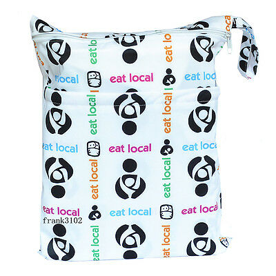 1 Eat Local Wet Dry Bag Baby Cloth Diaper Nappy Bag Reusable With Two Pockets