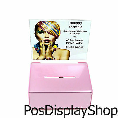 Collection Box / Suggestion Box Small Lockable - BB0003 Light Pink