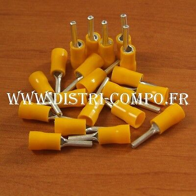 Embout de câblage rond jaune section 4 à 6mm (lot de 20)