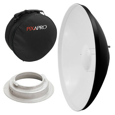 55cm White Studio Beauty Dish Broncolor B Fitting with Padded Carry Case Rigid