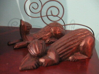 Lot of 2 VINTAGE DETAILED CARVED WOOD CAT FIGURINE ~ WIRE ART TAIL