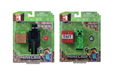 NEW OFFICIAL SEALED SET OF 2 ARTICULATED MINECRAFT TOY FIGURE- ENDERMAN/ CREEPER