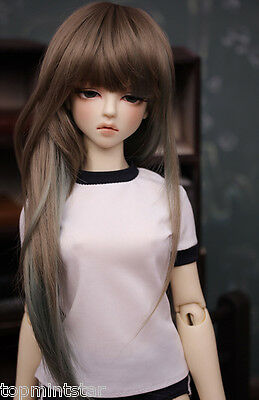 BJD Doll Wig Size 8-9 Long Hair Innocence Beauty Brown Hair Mix color