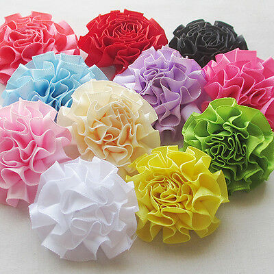 22pcs New Ribbon Flowers Bows Sewing Appliques Craft Wedding Decoration RB099