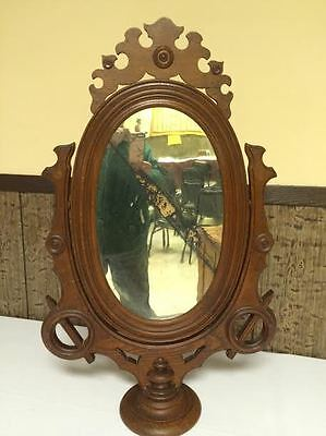 ANTIQUE VICTORIAN  WALNUT FREE STANDING WISHBONE MIRROR DRESSER/CHEST/VANITY TOP