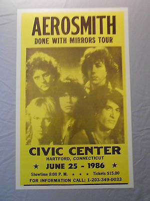 """AEROSMITH DONE WITH MIRRORS TOUR HARTFOD 1986 CONCERT POSTER 14"""" x 22"""""""
