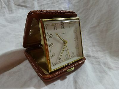 Vintage TOURIST Fold Up TRAVEL Alarm CLOCK 7 Jewels GLO Numbers SWISS MADE Works