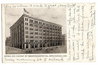 Office and Factory Thornton-Levey Co. Indianapolis Indiana antique postcard 1907