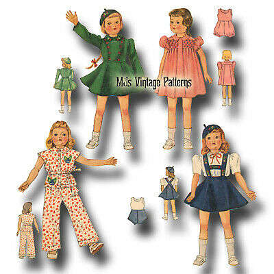 """Vtg 30s Doll Clothes Pattern ~ for 19"""" 20"""" Shirley Temple, Patsy, Portrait Movie"""