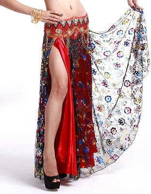 New Professional Belly Dance Costume 2 Layers with Slit Skirt Dress 11 colors