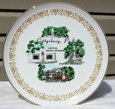 Vintage Sheffield China Plate Gettysburg PA Lincoln Eisenhower Soldiers Gold