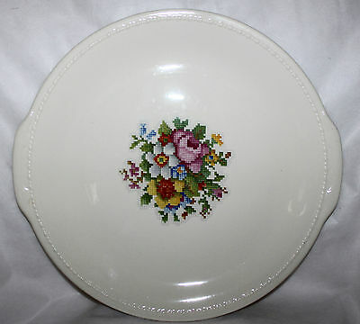 Taylor Smith & Taylor Platter Dish Serving Tray Round Petit Point Floral Cake