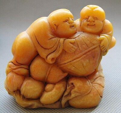 Old China Shoushan stone hand-carved Figure Statues