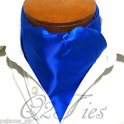 MEN'S SOLID ROYAL BLUE Free Style Casual Ascot Cravat Formal Party Wedding
