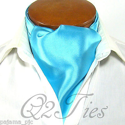 MEN'S SOLID TURQUOISE Free Style Casual Ascot Cravat Formal Party Wedding