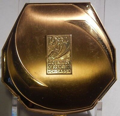 1934 CENTURY OF PROGRESS MAKEUP COMPACT WITH MIRROR POWDER,PUFF AND  ROUGE L@@K!