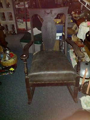 100+ YR. WOOD SPRING  LEATHER SEAT ( NEEDS REUPHOLSTERY )  ABLE TO SIT AND ROCK