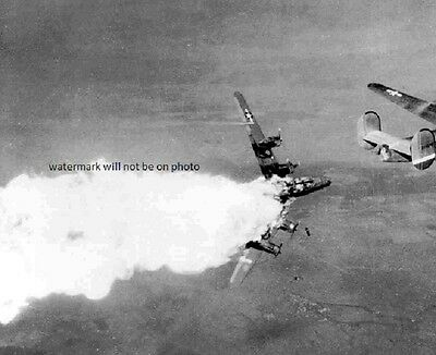 """USAF B-24 Liberator Bomber hit by Flak over Germany 8""""x 10"""" WWII Photo 318"""